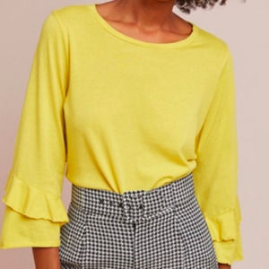 T La Anthro Yellow Ruffle 3/4 Sleeve Blouse Large